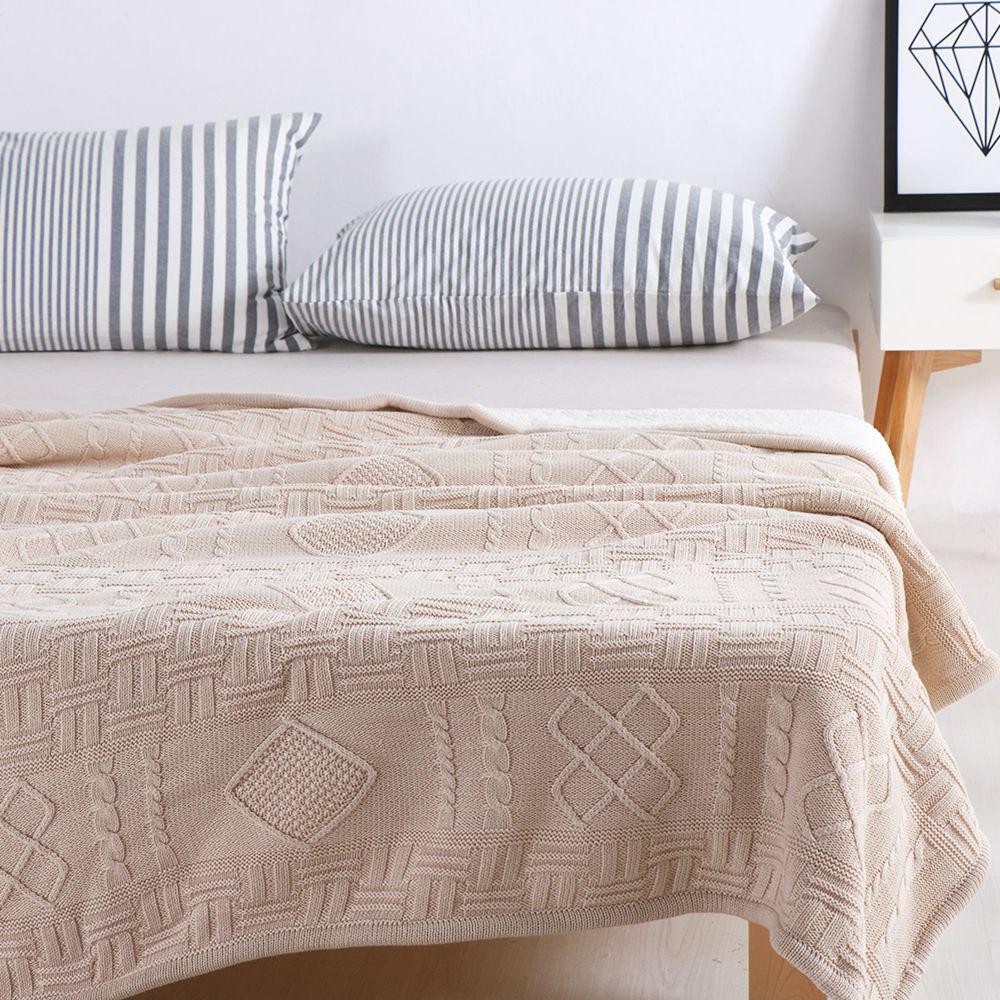 New Products With Thick Warm Cotton Knitted Wool Casual Blankets - BEIGE 130CM X 160CM