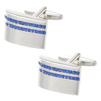 Jewelry HOT Shirt Cufflink for Mens Gift Brand Cuff Button Blue Crystal Cuff Button High Quality - SILVER