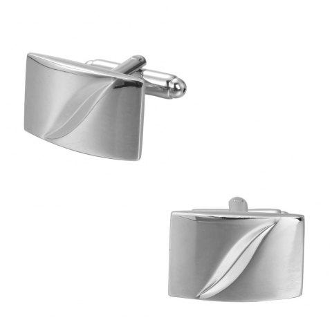 The Silver Square Simple Cut Leaves Cufflinks Cuff Nails Button - SILVER