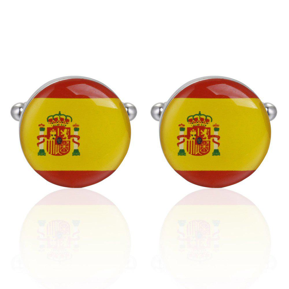 Drops of Oil Flag of Spain Cufflinks Cuff Nail Button - YELLOW