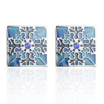 High Quality with Blue Crystal Oil Flower Square Cufflinks - BLUE BLUE