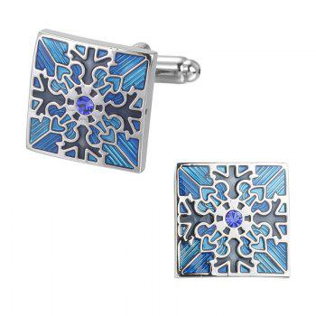 High Quality with Blue Crystal Oil Flower Square Cufflinks - BLUE