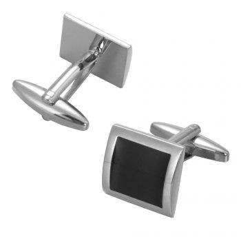 High Quality Black Oil Simple Square Cufflinks -  BLACK
