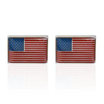 High Quality Oil Dripping American Flag Box Cufflinks Cuff Links - RED RED