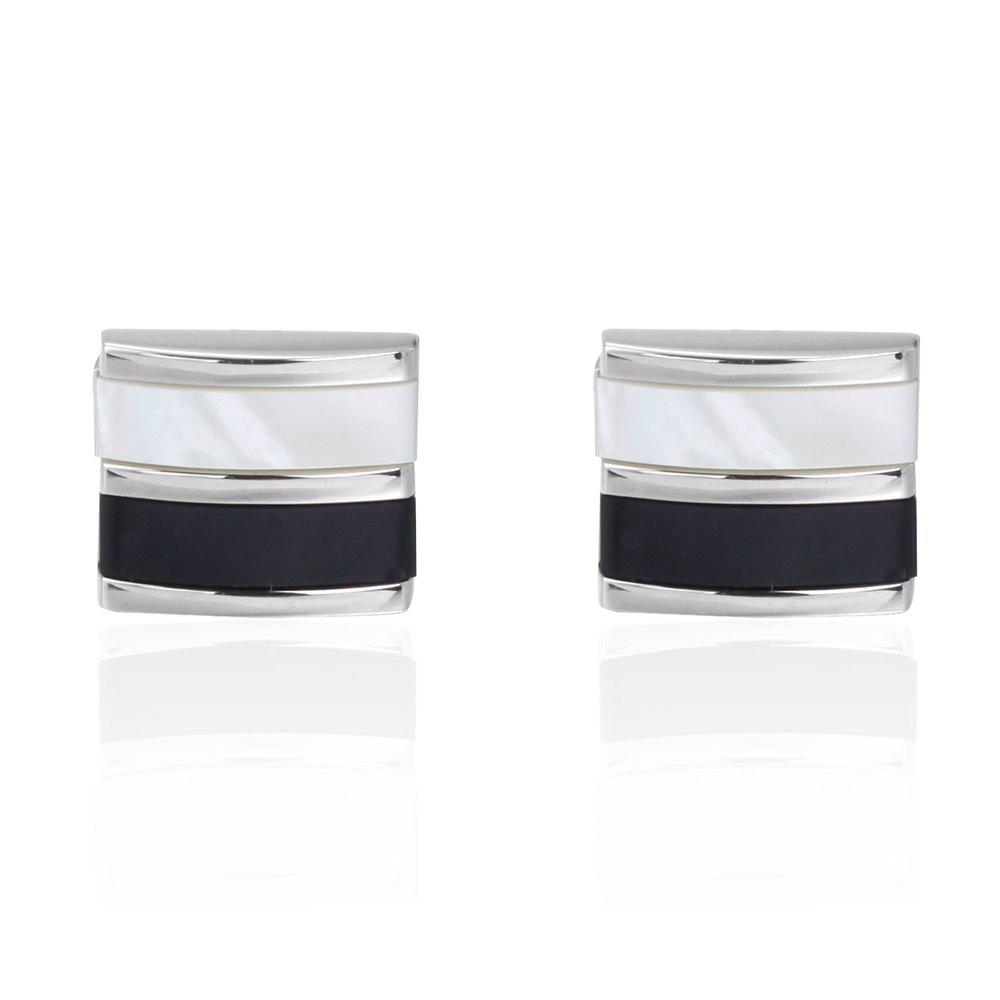The High-Grade Natural Shell Box Business Cufflinks Cuff Links - BLACK WHITE
