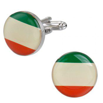 High-Grade Epoxy Round Flag of France Cufflinks Cuff Links - RED GREEN