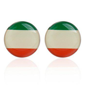 High-Grade Epoxy Round Flag of France Cufflinks Cuff Links - RED GREEN RED GREEN