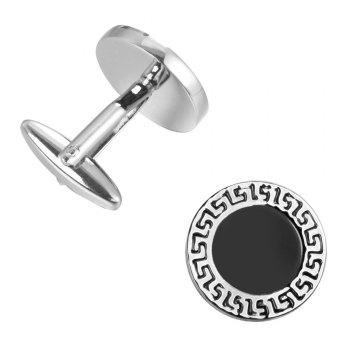 The Classic Black Bottom Oil Round The Great Wall Pattern Cufflinks Cuff Links - BLACK