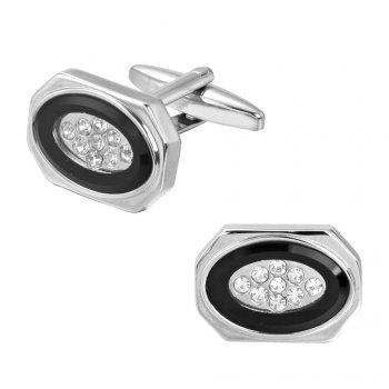 Classic Elliptical White Crystal Long Sleeved Nail Cufflinks -  BLACK