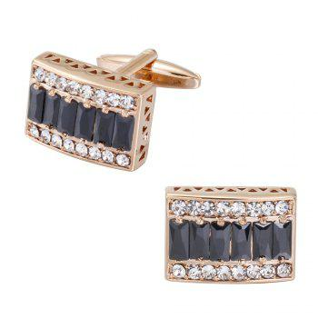 The High-End Luxury Gold-Plated Box Full Diamond Cufflinks -  GOLD BLACK