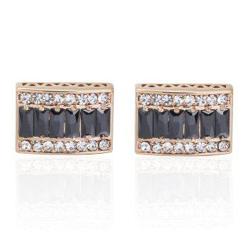 The High-End Luxury Gold-Plated Box Full Diamond Cufflinks - GOLD BLACK GOLD BLACK