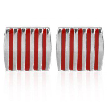 The Red Stripe Drops of Oil Wedding Cufflinks - RED RED
