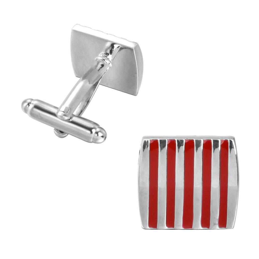 The Red Stripe Drops of Oil Wedding Cufflinks - RED