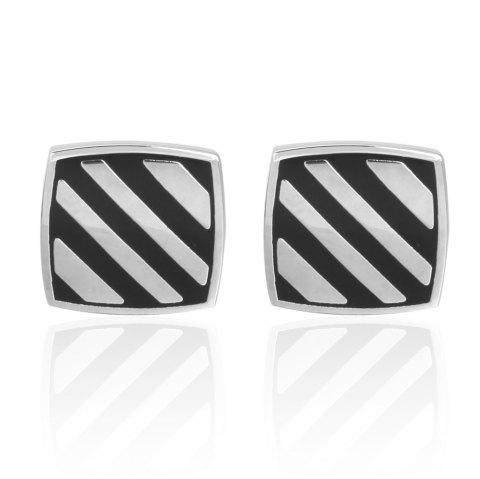 Boutons de manchette de mariage Diagonal Stripes Black Oil Stripes - Noir