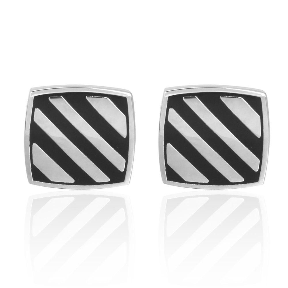 Black Oil Stripes Diagonal Stripes Wedding Cufflinks - BLACK