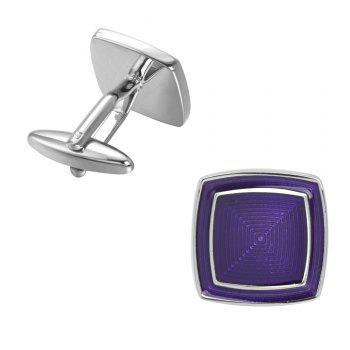 High-Grade Corrugated Square Married Violet Cufflinks - PURPLE