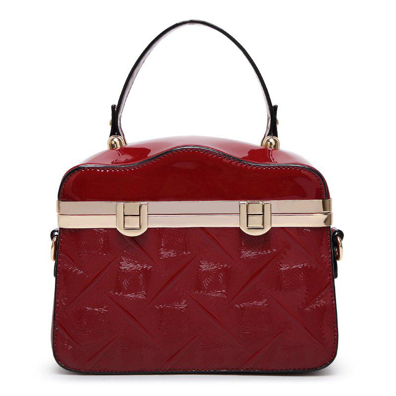 Ladies Shiny Patent Leather Handbag - RED