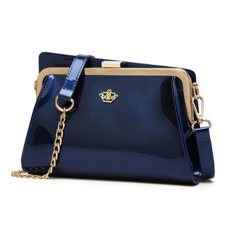 Ladies Casual European and American Style Patent Leather Handbag - BLUE
