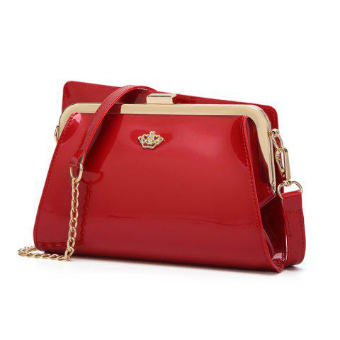 Ladies Casual European and American Style Patent Leather Handbag - RED