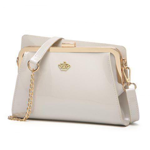 Ladies Casual European and American Style Patent Leather Handbag - WHITE