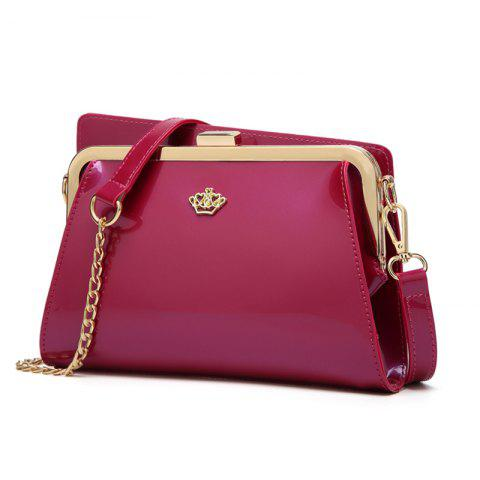 Ladies Casual European and American Style Patent Leather Handbag - ROSE RED