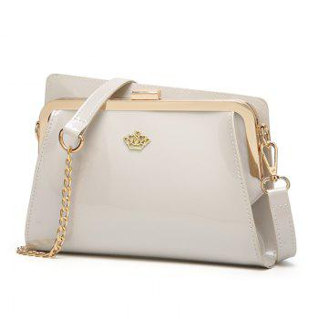 Ladies Casual European and American Style Patent Leather Handbag - WHITE WHITE