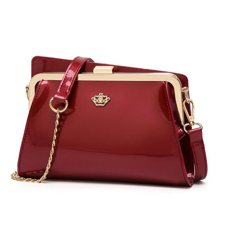 Ladies Casual European and American Style Patent Leather Handbag - WINE RED