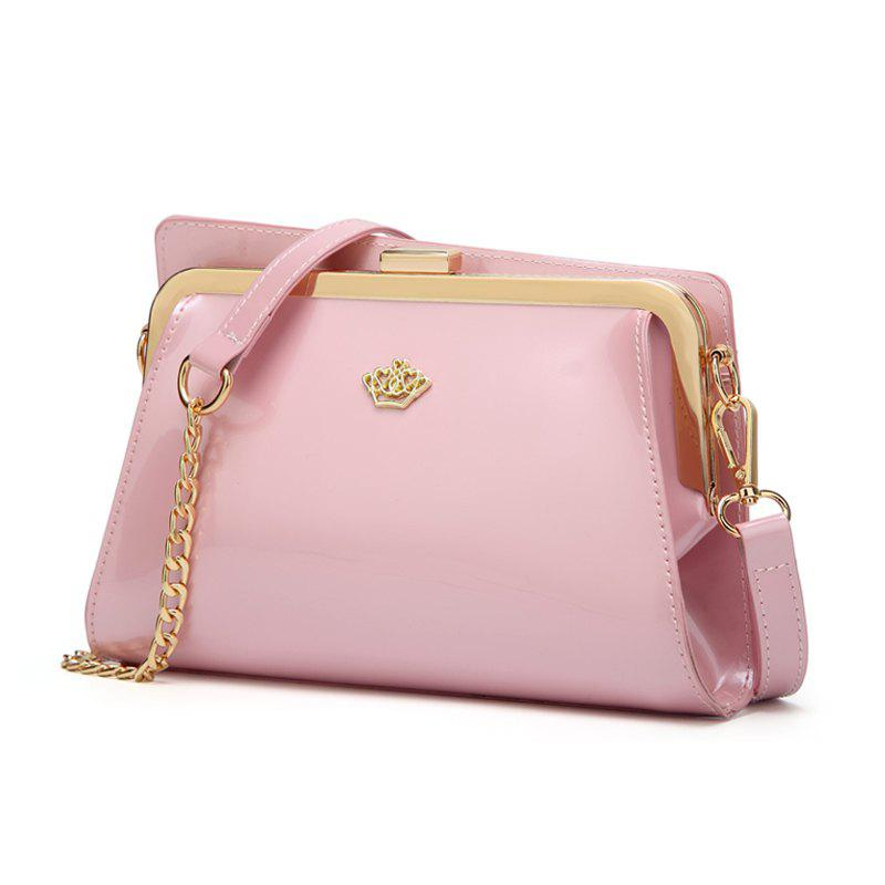 Ladies Casual European and American Style Patent Leather Handbag - PINK