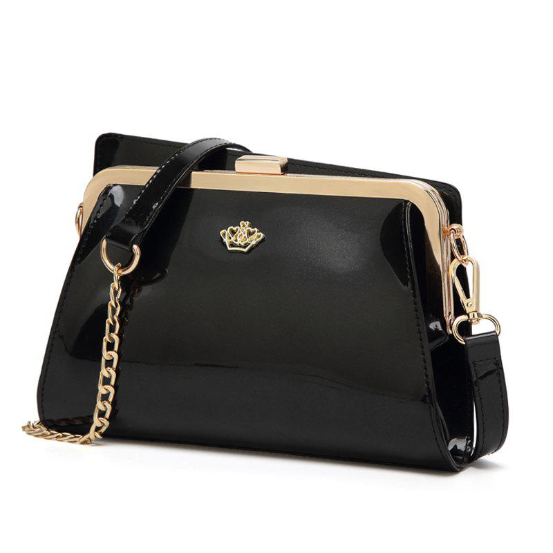 Ladies Casual European and American Style Patent Leather Handbag - BLACK