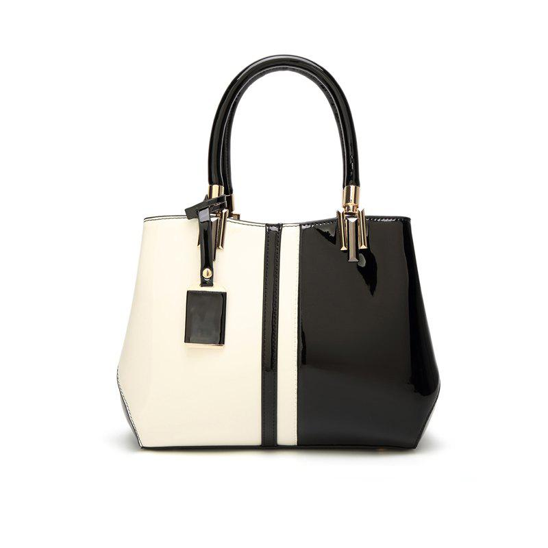 Ladies Fashion Hit Color European and American Handbag - BLACK