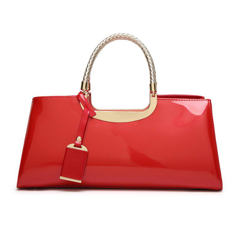 Ladies Fashion Sequined Light Plastic Handbag - RED