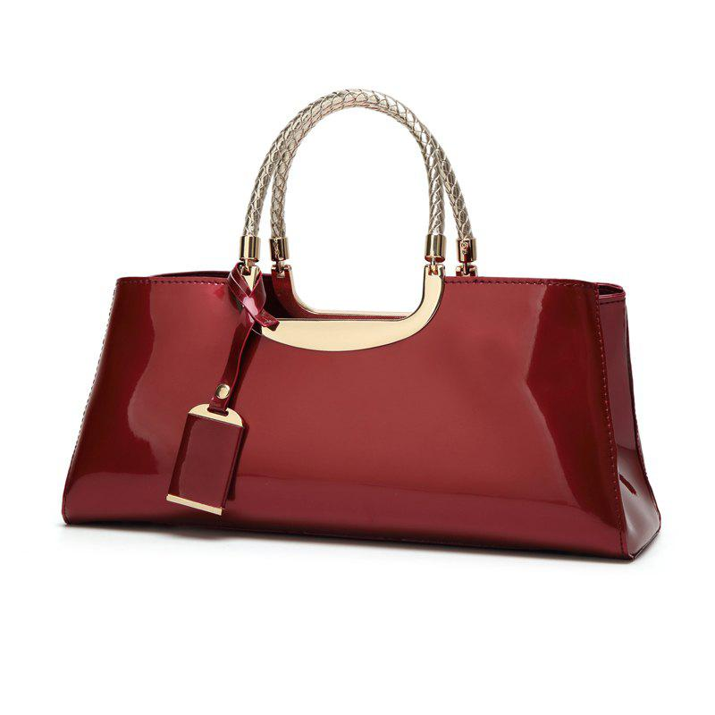 Ladies Fashion Sequined Light Plastic Handbag - WINE RED