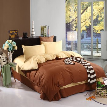 Two Plain Colors of 100 Percent Cotton Four-Piece Bedding Sets