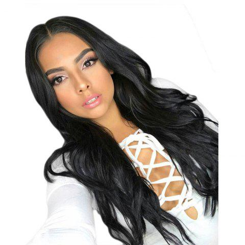 Long Natural Wavy 150 percent Hair Density Synthetic Lace Front Wig - BLACK 26INCH