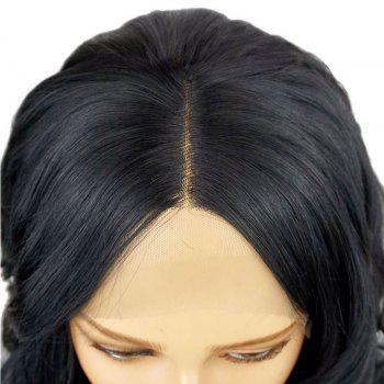 Long Natural Wavy 150 percent Hair Density Synthetic Lace Front Wig - BLACK 24INCH