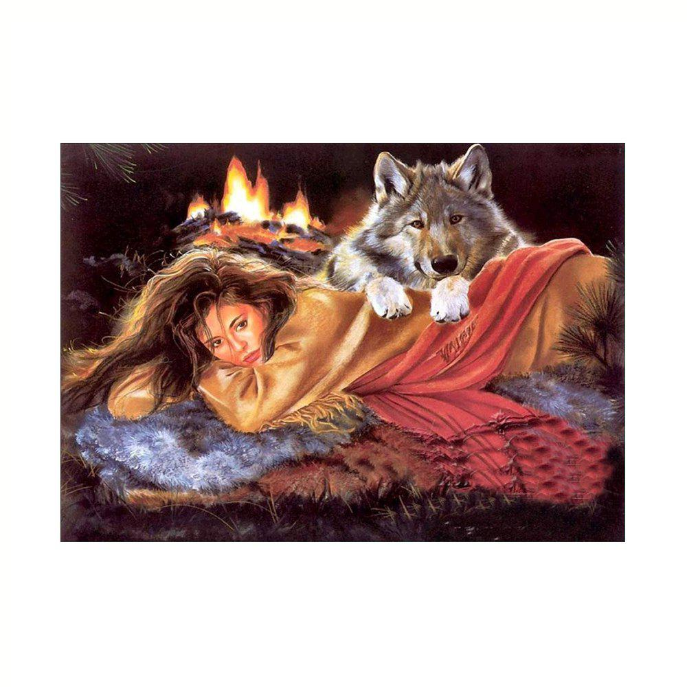 Naiyue 9679 Beauty and The Wolf Print Draw Diamond Drawing - COLORMIX