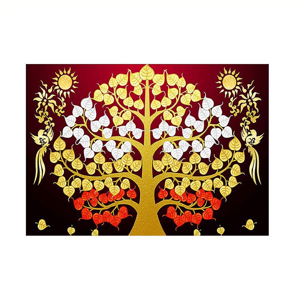 Naiyue 9833 Trees Print Draw Diamond Drawing - GOLD/RED