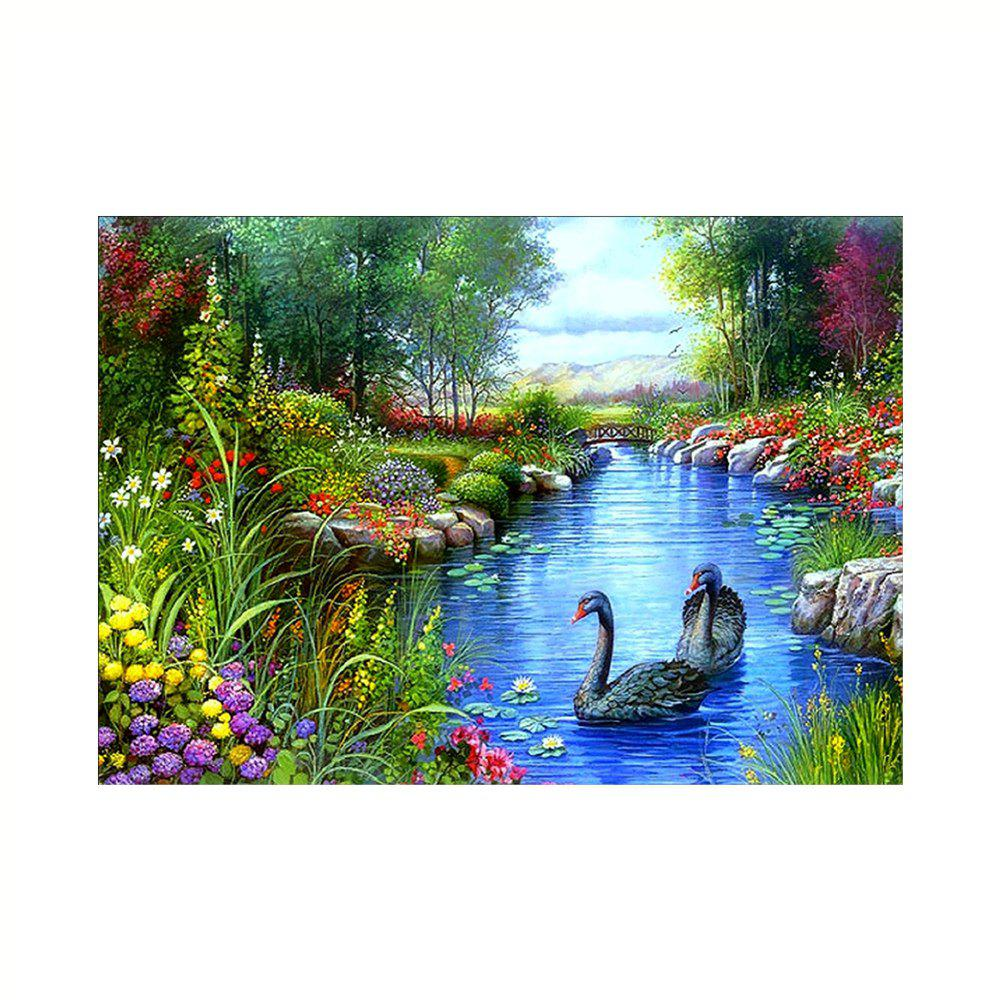 Naiyue 9855 Landscape Swans Print Draw Diamond Drawing - COLORMIX