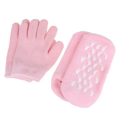 2 Pairs SPA Gel Socks Gloves Reusable Moisturizing Exfoliating SKin Care Tools - PINK ONE SIZE