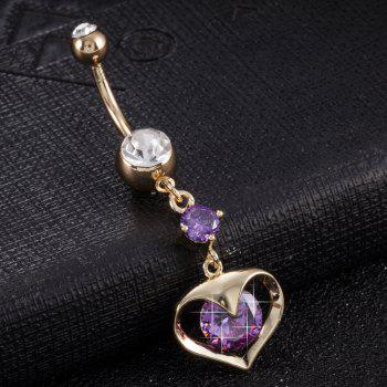 Fashionable Pierced Heart Exquisite Zircon Navel Ring