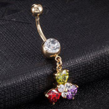 Fashion Colorful Petals Exquisite Zircon Navel Ring