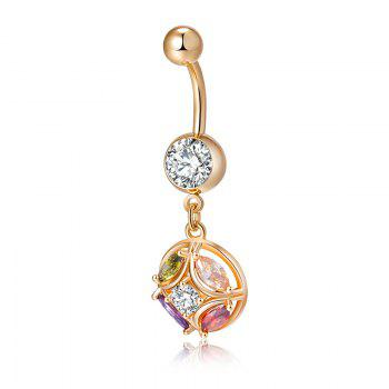 Fashion Revolving Color Zircon Navel Ring P0199