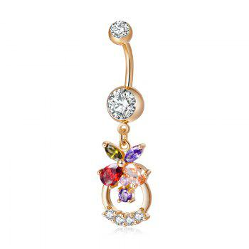Fashion Colorful Flower Basket Exquisite Zircon Navel