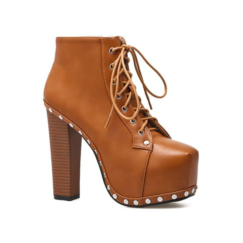 Female Rubber Sole Heel High Heel Rivet Ankle Boots BROWN D STYLE