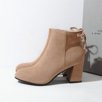 Shoes Miss Ascp07-8 Thick High Heels with Rounded Head Zipper Fashion Boots - APRICOT 39