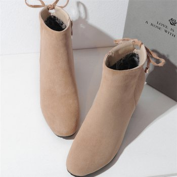 Shoes Miss Ascp07-8 Thick High Heels with Rounded Head Zipper Fashion Boots - APRICOT 38