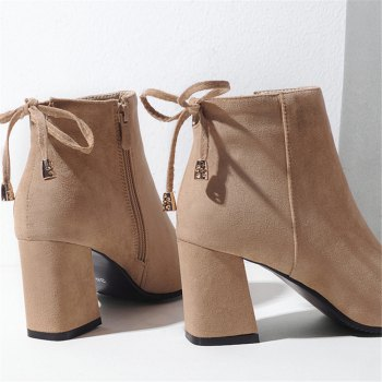 Shoes Miss Ascp07-8 Thick High Heels with Rounded Head Zipper Fashion Boots - APRICOT 35