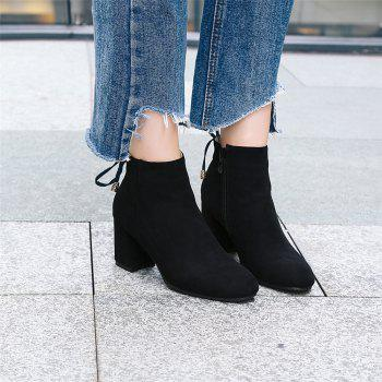 Shoes Miss Ascp07-8 Thick High Heels with Rounded Head Zipper Fashion Boots - BLACK 35