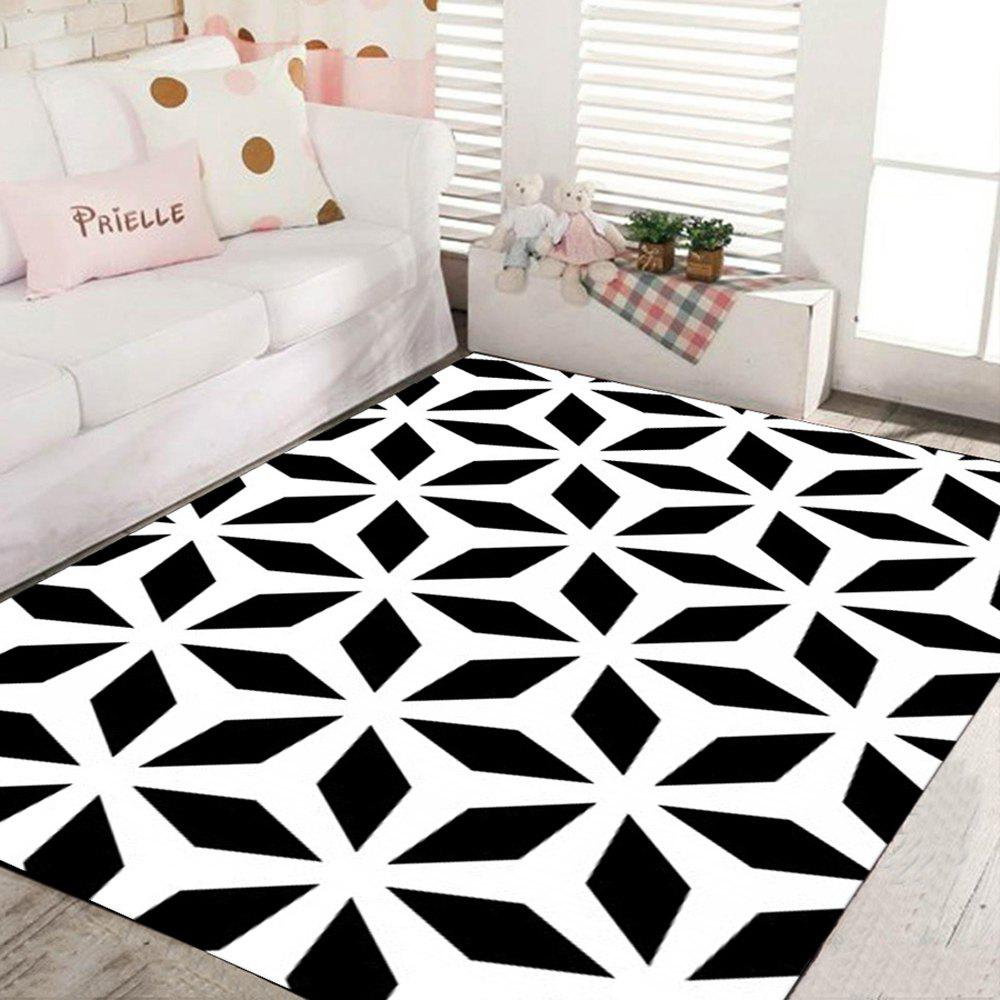 2018 tapis de maison moderne et simple tapis rectangle blanc et noir blanc noir x cm in tapis de. Black Bedroom Furniture Sets. Home Design Ideas