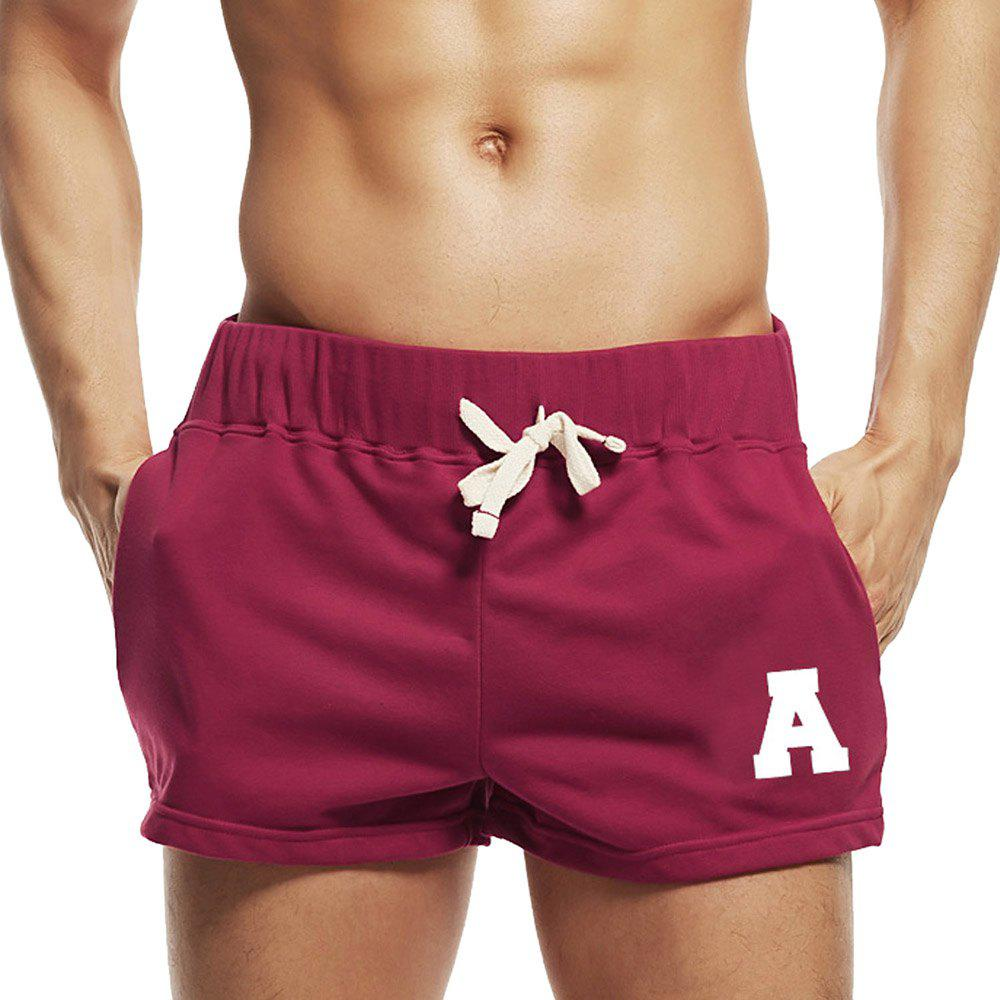 Taddlee Sexy Hommes Sport Courir Short Shorts Coton Rouge Poches Gym Formation Big Soft Low Rise Boxer Troncs Bas - Rouge L